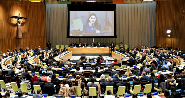 ISA Youth Empowerment Program Blog Essay by Samar Samir Mezghanni,ISAエンパワーメントプログラム サマー サミール メズガニ氏,国連でのスピーチの写真