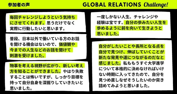 Global Relations Challenge 参加者の声